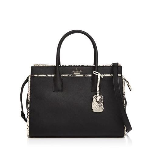 KATE SPADE NEW YORK Cameron Street Candace Snakeskin-Embossed Trim Leather Satchel