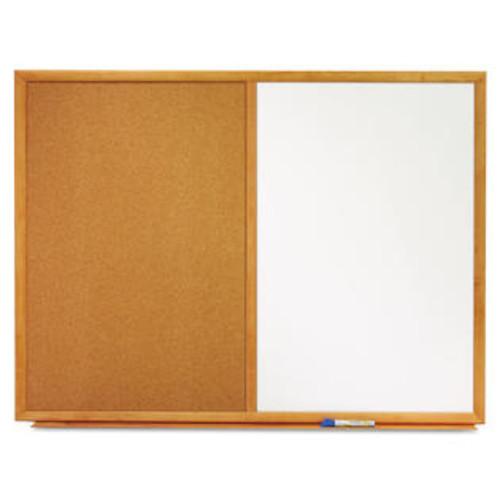 Quartet Bulletin/Dry-Erase Board Melamine/Cork 48 x 36 White/Brown Oak Finish Frame