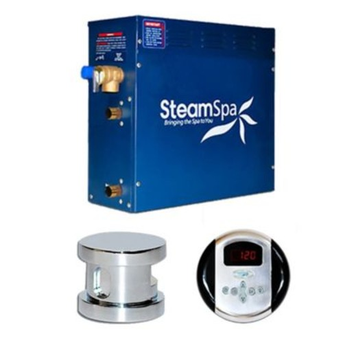 Steam Spa SteamSpa Oasis 9 KW QuickStart Steam Bath Generator Package; Chrome