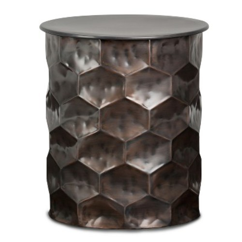Whitney Metal Storage Side End Table Antique Bronze - Simpli Home