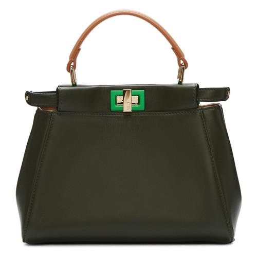 FENDI Grey & Tan Mini Peekaboo Bag