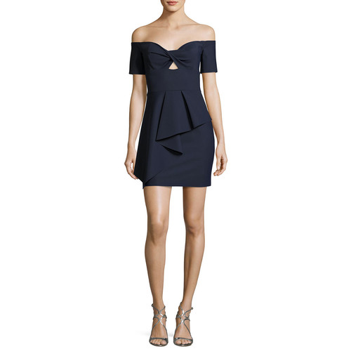 MILLY Vanessa Off-The-Shoulder Peplum Stretch Cocktail Dress