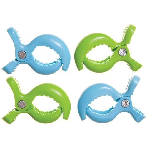 Dreambaby Strollerbuddy Stroller Blanket Clips, 4 Pack Blue, Green