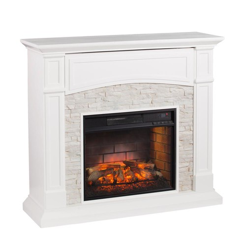 Southern Enterprises Conway 45.75 in. W Infrared Electric Media Fireplace in White with White Faux Stone