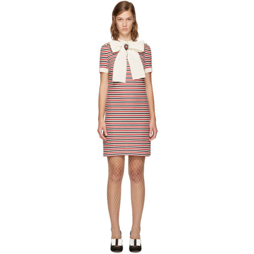 GUCCI Tricolor Striped Bow Dress
