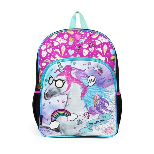 Delia's Unicorn Patches Pink 16 inch Backpack with Side Mesh Pockets