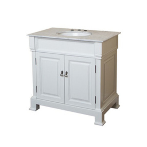 Bellaterra Home White (Rub Edge) Undermount Single Sink Bathroom Vanity with Natural Marble Top (Common: 36-in x 23-in; Actual: 36-in x 22.5-in)