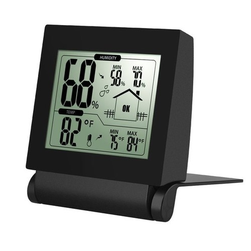 Digital Wireless Indoor Hygrometer Thermometer - Black