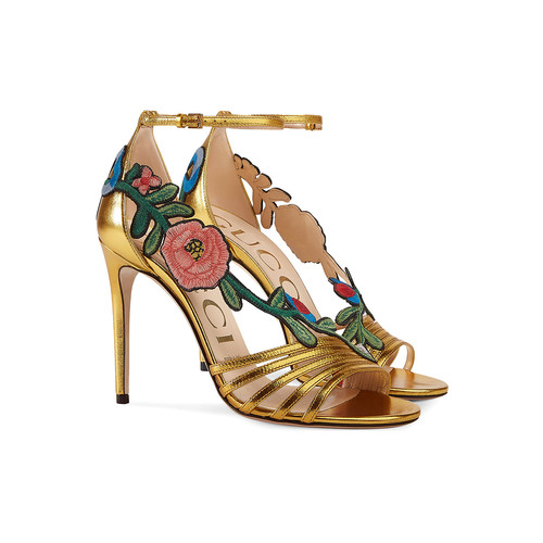 GUCCI Embroidered Metallic Mid Heel Sandal