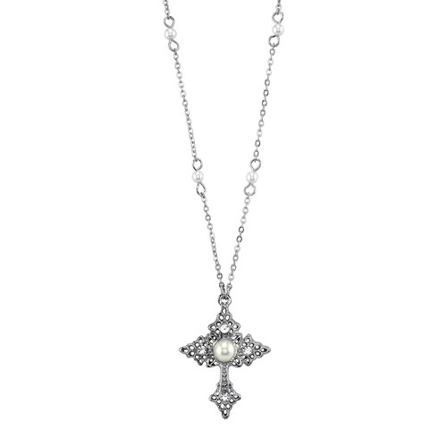 1928 Simulated Pearl Cross Pendant Necklace