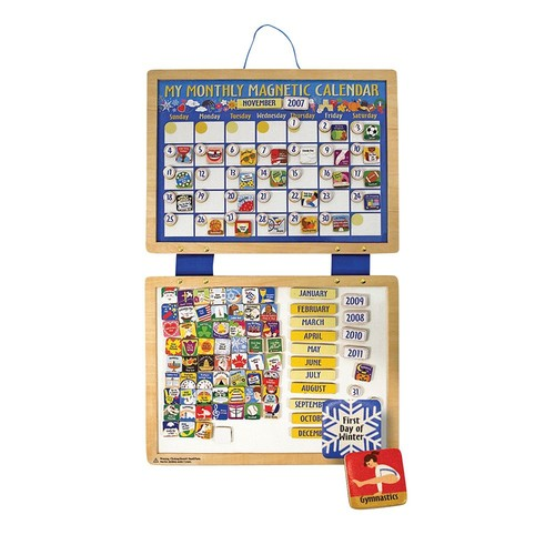 Melissa & Doug Deluxe Wooden Magnetic Calendar With 134 Magnets [Standard]
