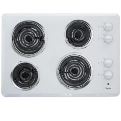 Whirlpool 30 in. Coil Electric Cooktop in White with 4 Elements