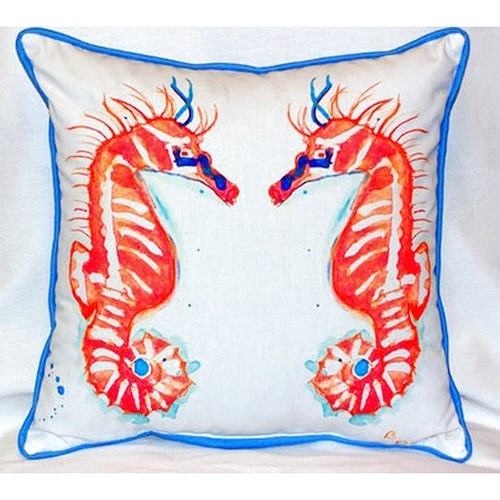 Coral Sea Horses 18-inch x 18-inch Indoor/Outdoor Throw Pillow