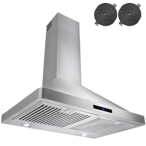 AKDY 30 in. Convertible Kitchen Wall Mount Range Hood in Stainless Steel with LEDs Touch Control and Carbon Filters