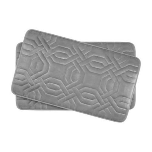 BounceComfort Chain Ring Light Gray 17 in. x 24 in. Memory Foam 2-Piece Bath Mat Set