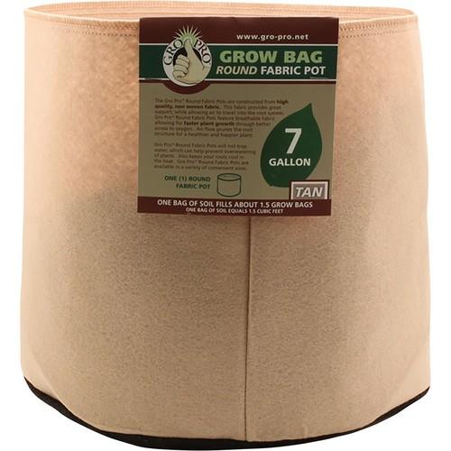 Sunlight Supply Gro Pro Grow Bag Round Fabric Pot  7-Gallon Capacity, Tan