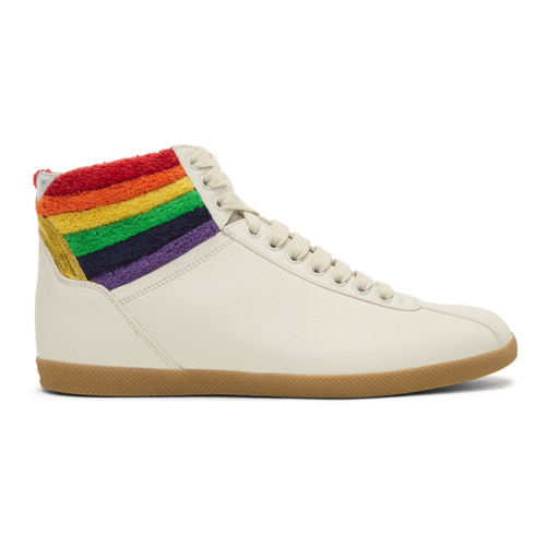 GUCCI White Rainbow High-Top Sneakers