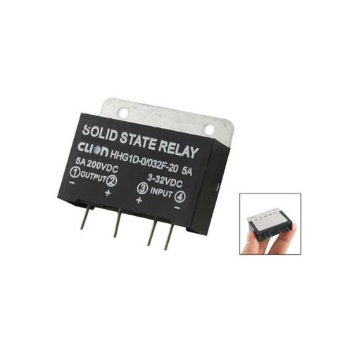 Heat Sink Input 3-32V DC Output 5A 200V DC PCB Mount SSR Solid State Relay