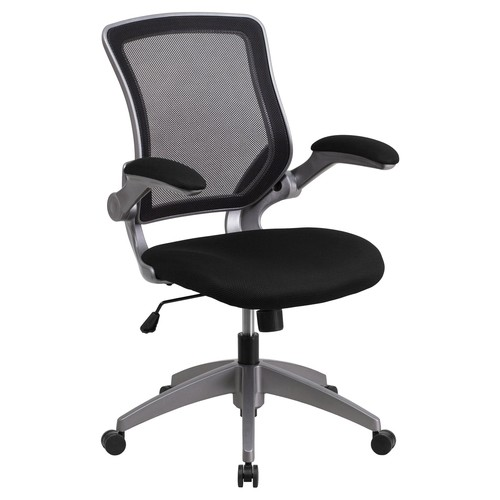 Flash Furniture Mid-Back Mesh Swivel Task Chair with Gray Frame and Flip-Up Arms, Multiple Colors