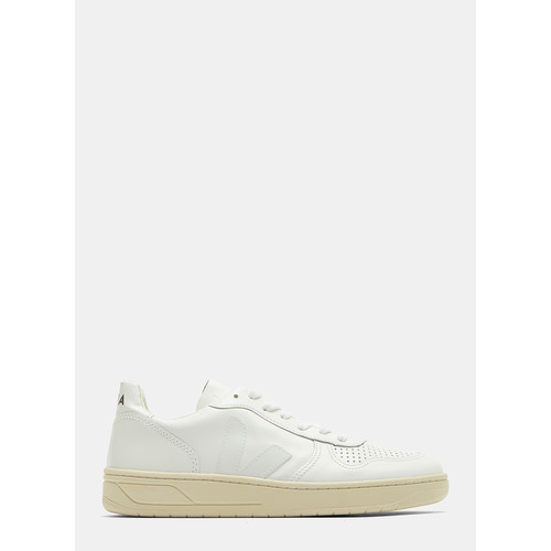 V10 Low-Top Leather Sneakers in White