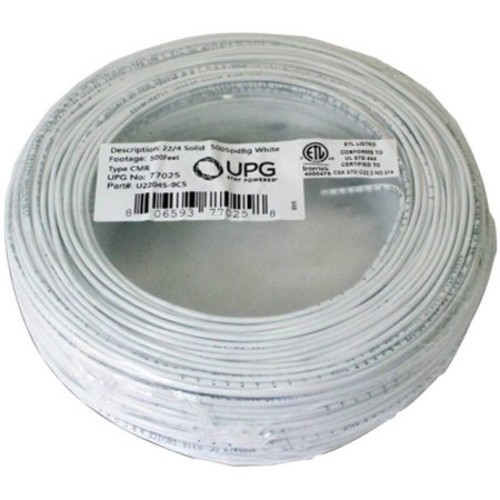 UPG 77025 22-Gauge, 4-Conductor Alarm White Cable, 500' Coil Pack, Solid