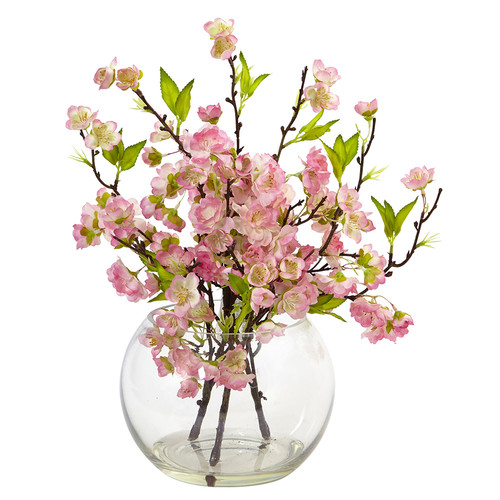 Nearly Natural Cherry Blossom in Large Vase Silk Arrangement