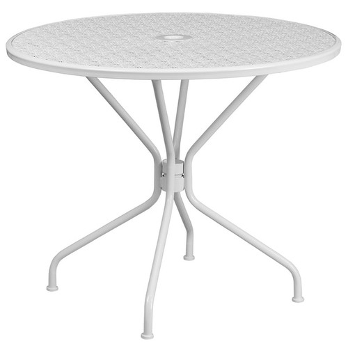 Westbury Round 35.25'' White Steel Table for Patio/Bar