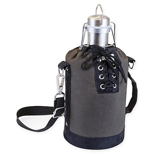 Picnic Time Growler Tote with 64 oz. Stainless Steel Growler in Grey