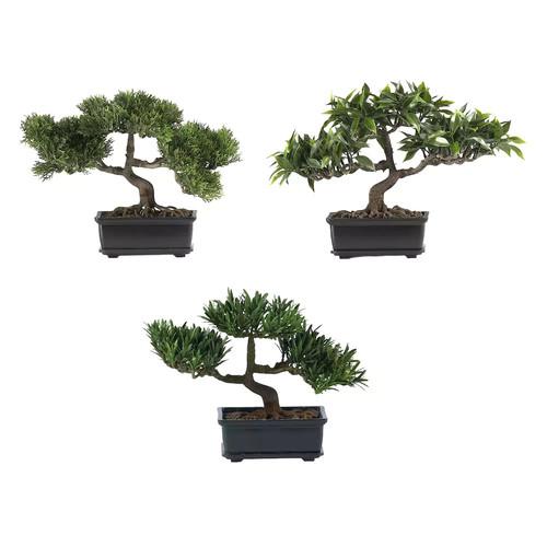 Nearly Natural Silk Bonsai 3 Piece Desk Top Plant in Planter