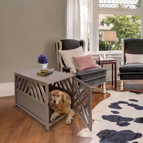 The Gray Barn Haney-Jardine Lattice Grey Wooden Pet Crate/ End Table