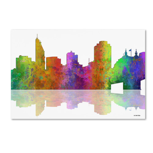 Marlene Watson 'Cincinatti Ohio Skyline' Canvas Art [option : 12x19 Wrapped Canvas Art]