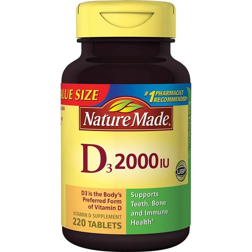 Nature Made D3, 2000 IU, Tablets, Value Size, 220 tablets