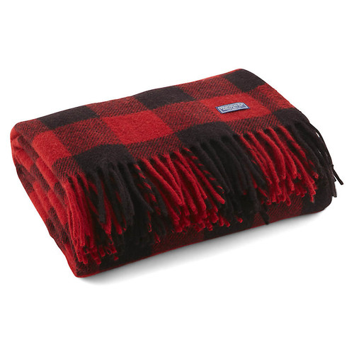 Buffalo Wool Throw, Red/Black