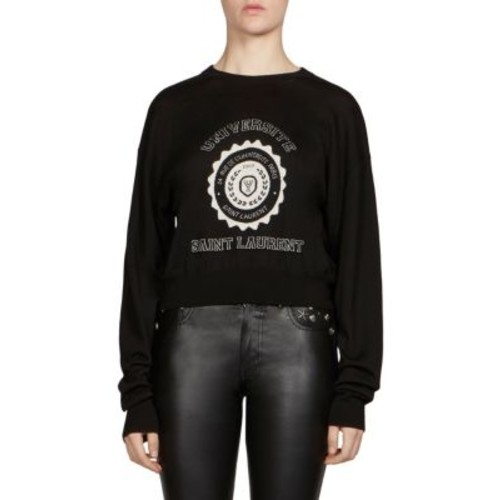 SAINT LAURENT Universite Cashmere Cropped Sweater