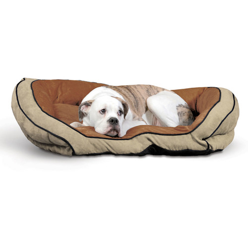 K&H Pet Products Bolster Couch Large Mocha/Tan Pet Bed
