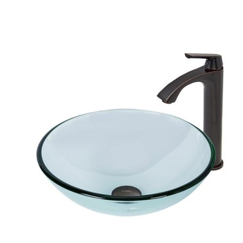 VIGO Glass Vessel Sink in Crystalline and Linus Vessel Faucet Set in Antique Rubbed Bronze