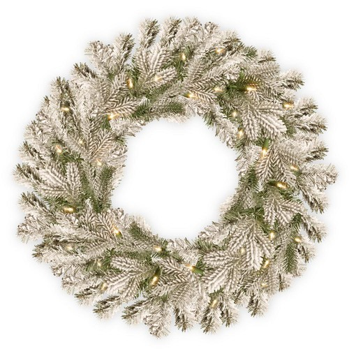 National Tree Company 24 in. Battery Operated Snowy Sheffield Spruce Wreath with Warm White LED Lights