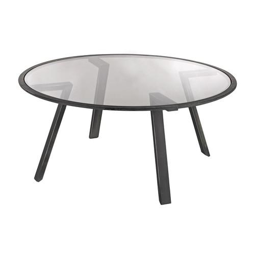 Titan Lighting Geometric Pewter Metal and Glass Coffee Table