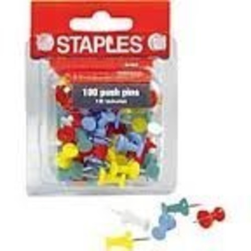 Staples Push Pins (100 Pack) Assorted Colors