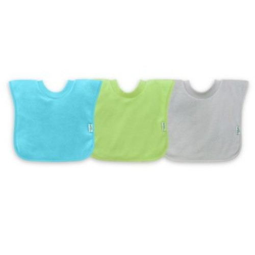 green sprouts by i play 3-Pack Pull-Over Stay-Dry Bibs in Aqua
