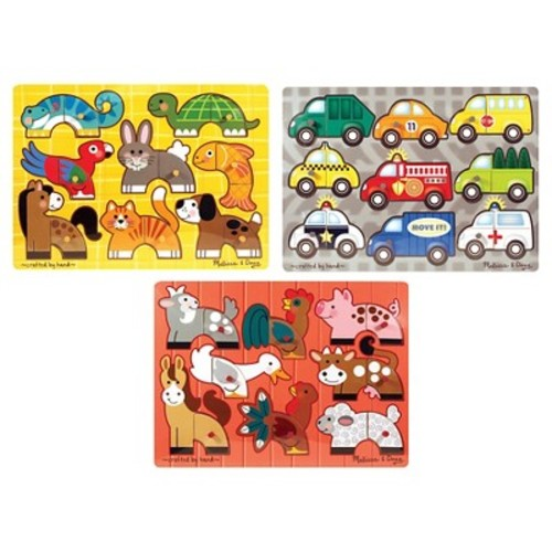 Melissa & Doug Mix 'n Match Wooden Peg Puzzles (Set of 3) - Animals and Cars 225pc
