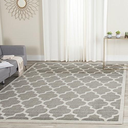Safavieh Amherst Collection AMT420R Dark Grey and Beige Indoor/ Outdoor Area Rug