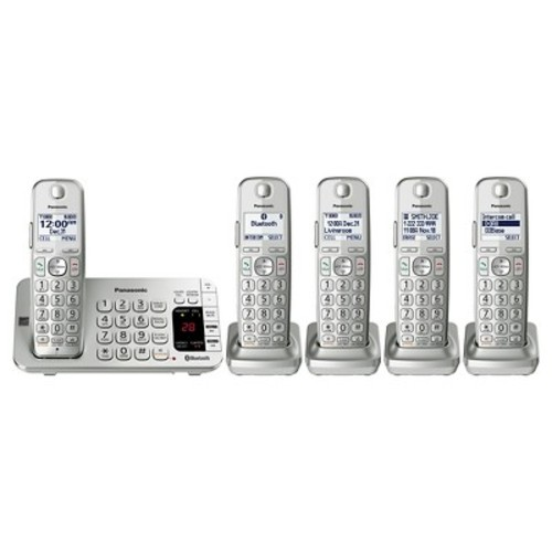 Panasonic Link 2 Cell Cordless Phone with Digital Answering Machine - Silver (KX-TGE475S)