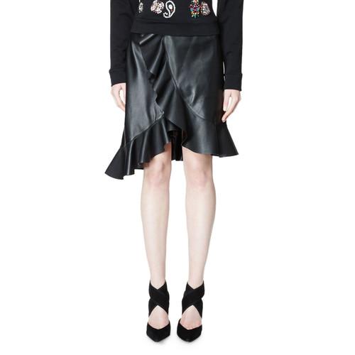 LANVIN Ruffled Tulip-Hem Leather Skirt, Black (Noir)