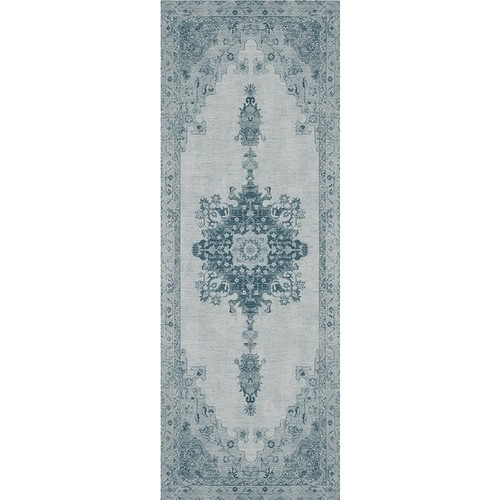 RUGGABLE Washable Indoor/ Outdoor Stain Resistant Runner Rug Parisa Blue (2'6