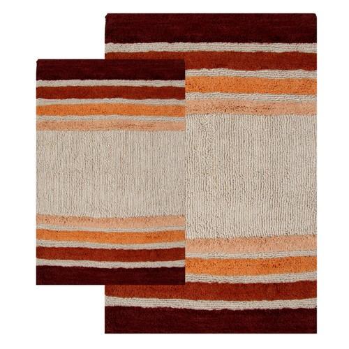 2-Piece Tuxedo Stripe Bath Rug Set