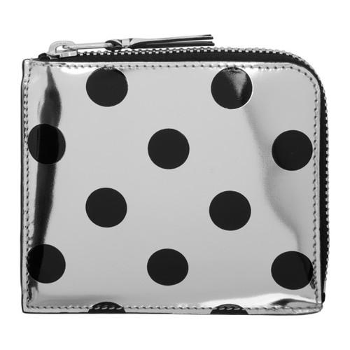 COMME DES GARÇONS WALLETS Silver & Black Polka Dot Small Zip Wallet