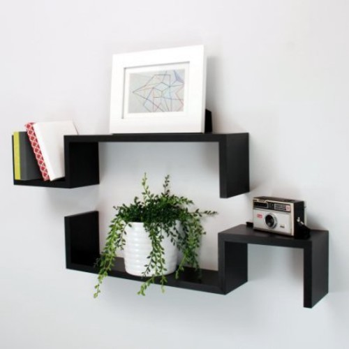 AZ Trading Sila Black S Wall Shelves - Set Of 2