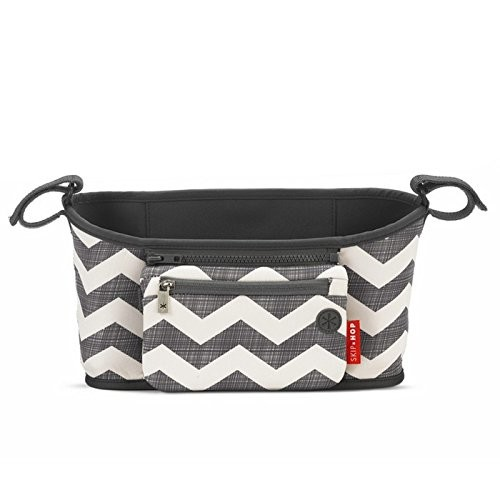 Skip Hop Grab and Go Attachable Neoprene Stroller Organizer and Cup Holder with Detachable Wristlet, Universal Fit, Grey / White, Chevron [Chevron]