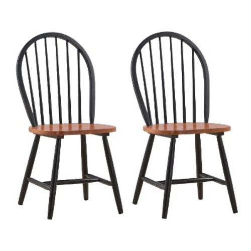 Windsor Dining Chair Wood/Black/Cherry (Set of 2) - Boraam